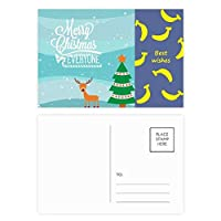クリスマスツリーのイラスト鹿祭り バナナのポストカードセットサンクスカード郵送側20個