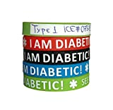 IDmed Personalized Silicone Write-on Bracelets I Am Diabetic (4 Pack) Adult Size Blue, Green, Red and Black