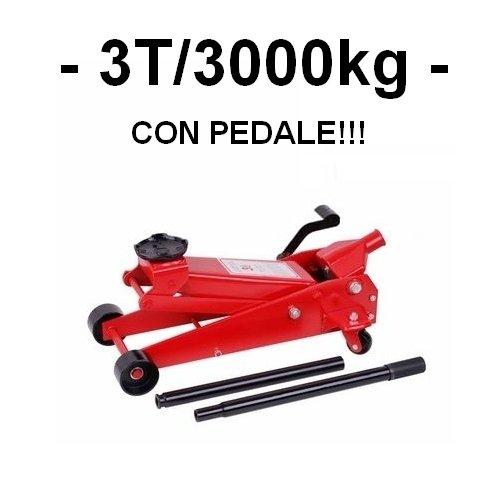 GrecoShop Cric Sollevatore Martinetto Idraulico a Carrello 3T 3000Kg con Pedale