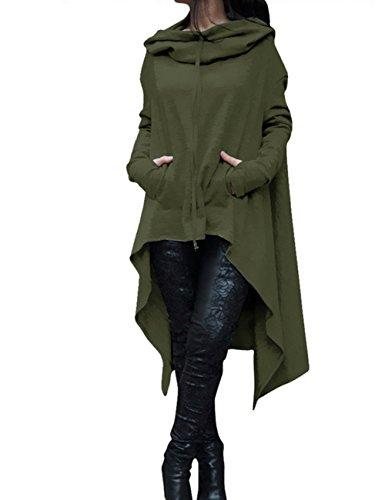 EMMA Damen Herbst Plus Size Asymmetrisch Saum Vorne kurz Hinter lang mit Taschen Pullover Sweatshirts Kapuzenpullover Loose Lange Kapuzen Poncho Pulli(AG,5XL)