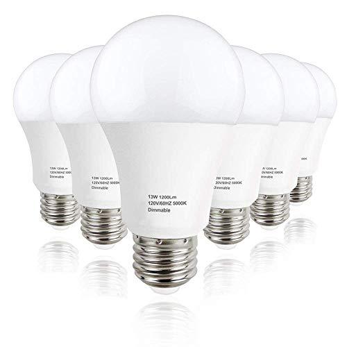 LEDERA A19 LED Light Bulb Dimmable, E26 Base Light Bulb 13W (100W Equivalent), 1200 Lumens,  5000K Daylight White, 6-Pack
