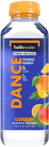 hellowater - Fiber Infused Water (Orange Mango - 16 Fl. oz. Bottles (Pack of 12)