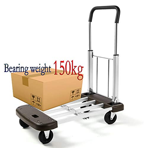 MAI&BAO Klappbarer Rollwagen Transportwagen Aluminiumlegierung Sackkarre Gepäckwagen Einkaufstrolley Plattformwagen Einkaufswagen Lagergewicht 150kg
