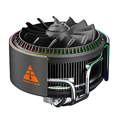 GOLDEN FIELD ENGINE A-RGB CPU Cooler, PWM CPU Fan, 5V Motherboard SYNC, 4 Copper Heatpipes Air Cooler for Intel& AMD