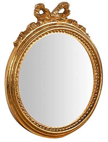 Biscottini Specchio Specchiera da parete stile Shabby in legno con finitura foglia oro Anticato misure L25xPR2,5xH29 cm produzione Artigianato Fiorentino Made in Italy