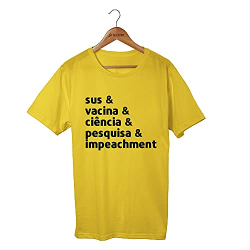 Camiseta Camisa Vacina Ciência Imunizado Viva O Sus (XG, Amarelo)