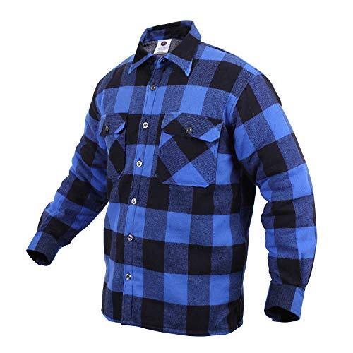 Rothco Extra Heavyweight Buffalo Plaid Sherpa Lined Flannel Shirts, Blue, 3XL