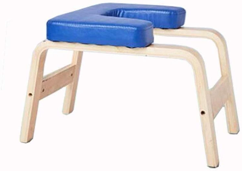 木製ヨガ倒立スツール、多機能フィットネスチェア ホームヨガ補助スツール ジムヨガスツール (Color : 青)