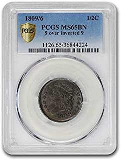 1809/6 Half Cent MS-65 PCGS (Brown, 9 over inverted 9) Cent MS-65 PCGS