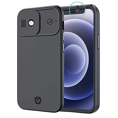 Spy-Fy Funda iPhone 12 mini con protección para Cámara Anterior y Posterior  Protege tu Privacidad   A prueba de caídas desde hasta 2 metros   Negro mate   Tapa para Cámara de iPhone por Valenta