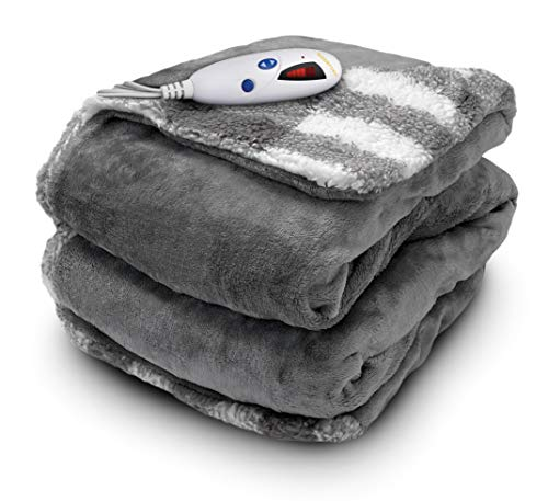 Biddeford Blankets Velour Sherpa Electric Heated Blanket with Digital Controller, Throw, Steel Grey