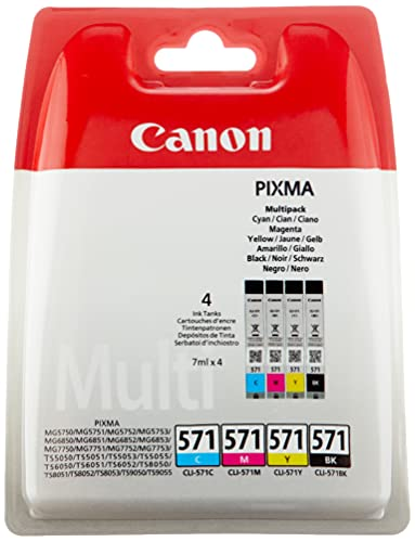 Canon CLI-571 Cartouche C/M/Y/Bk Multipack Cyan, Magenta, Jaune, Noire, 4 x 7ml