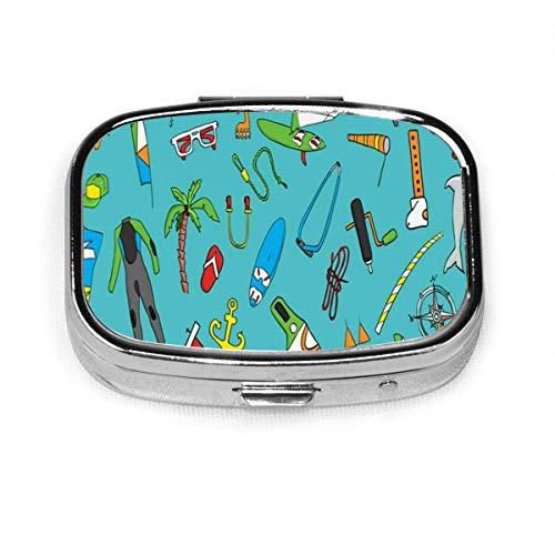 Hermosa tabla de windsurf objetos Windsurf personalizado cuadrado Pastillero caja decorativa caja contenedor vitamínico bolsillo o cartera