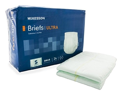 McKesson Adult Incontinent Brief, Ultra Tab Closure, Heavy Absorbency, Size Small,Packaged: 24 Per Bag, 4 Bags Per Case.