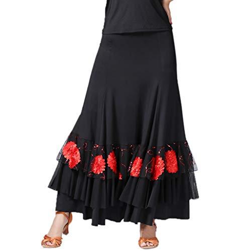 Falda de Flamenco Cintrua Alta Bordado de Flores con Lentejuelas Traje de Baile para Mujer Chica - Negro + Rojo, como se describe
