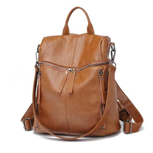 Zaino Donna in Cuoio Morbido - Daypack Scuola Casual 2 in 1 come Zaino e Tracolla, Backpack Vintage Multipocket Leggeri di Grande Capacità e Moda per Lavoro, College e Viaggi