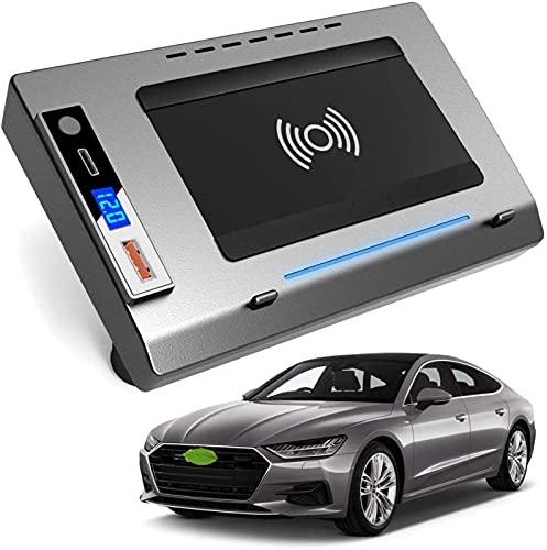 Cargador Inalámbrico Coche para Audi A6 A7 2019 2020 2021 Panel de Accesorios de Consola Central,Cojín de Carga Rápida del Cargador del Teléfono 15W con QC3.0 USB y PD 18W para El iPhone 12/11