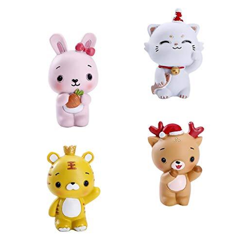 Hemoton 4 Piezas de Estatuillas de Animales para Decorar Pasteles de Resina de Animales en Miniatura Juguetes de Decoración de Coches para Decoración de Pasteles de Cumpleaños Accesorios