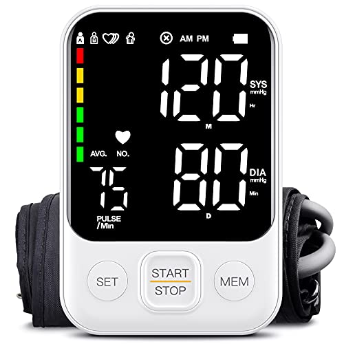 [2020 Latest] Blood Pressure Monitor Upper Arm Accurate Automatic Digital BP Machine Pulse and Heart Rate Voice Broadcast Monitor for Home Daily Use