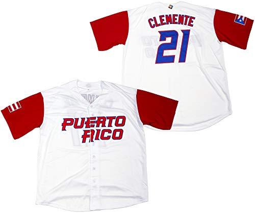 Clemente #21 Puerto Rico World Classic Baseball Jersey Men (White, Large)