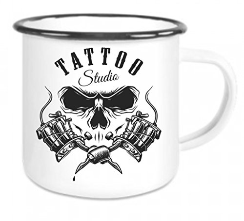 Crealuxe Emaille Tasse mit Rand Tattoo Studio - Kaffeetasse mit Motiv, Campingtasse Bedruckte Email-Tasse mit Sprüchen oder Bildern
