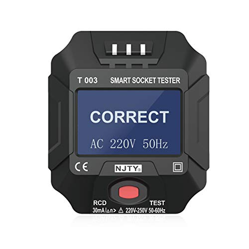 Steckdosentester,Kecheer 220~250 V EU-Steckdosentester Smart Socket Tester Digitalanzeige LCD-Steckdosentester Schaltkreis Polaritätsdetektor Wandsteckerbrecher Finder Dichtheitsprüfung
