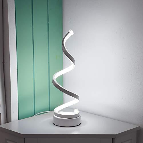 Demiawaking Lampada da Tavolo a Spirale LED Lampada da Comodino Moderna Design Lampada da Scrivania Curvo per Studio, Soggiorno, Camera da Letto (Bianco freddo)