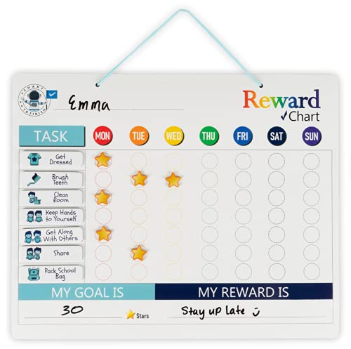 Chore Chart - Magnetic Chore Chart Attaches to Magnetic Surface or Can Hang - Use as a Behavior Chart for Kids or Reward Chart for Kids- Our Chore...
