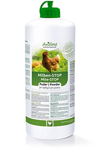 AniForte Milben-Stop Puder Kieselgur für Hühner & Geflügel 1L – Diatomeenerde gegen rote Vogelmilben, Milbenpulver für Hühner in Stäube-Flasche, ohne Chemie für Bio-Betriebe geeignet