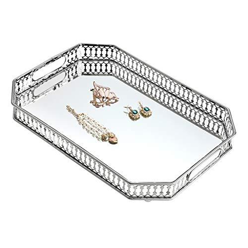 Sumnacon - Bandeja para cosméticos, bandeja de servicio, bandeja de espejo decorativa, organizador para joyas, perfume (grande, octogonal, plata)