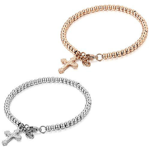 JewelryWe Schmuck 2pcs Charme Damen Kugel Perlen Armband,Handgelenk Kugel Perlenkette mit Jesus Kreuz Anhänger, Edelstahl Armreif, Rosegold Silber