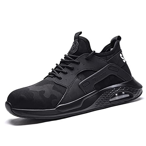 Annvia Zapatos de seguridad para hombre, ligeros, deportivos, transpirables, con puntera de acero, color negro, Black839, 40 EU