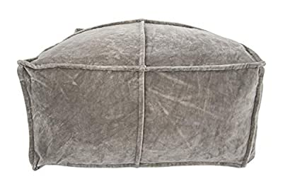 Creative Co-Op Square Cotton Velvet Pouf Seating, Grey