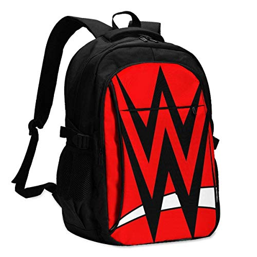 WWE Backpack Personality with USB Backpack Laptop Bag Waterproof Travel Daypack for School