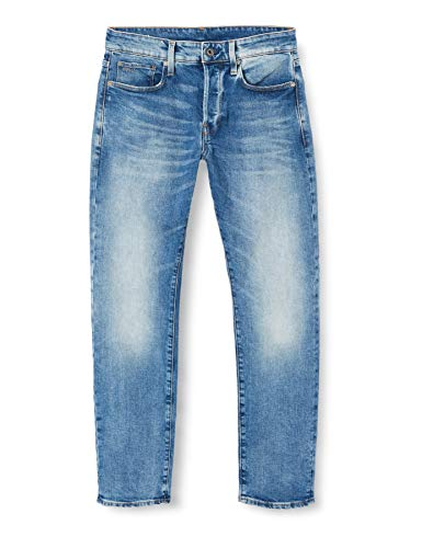 G-STAR RAW Herren 3301 Straight Tapered Jeans Jeans, Lt Indigo Aged C052-8436, 33W / 34L