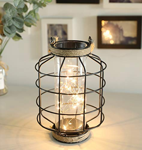"""JHY DESIGN Metal Cage LED Lantern Battery Powered,9.4"""" Tall Cordless Accent Light with 20pcs Fairy Lights Great for Weddings Parties Patio Events Indoors Outdoors."""