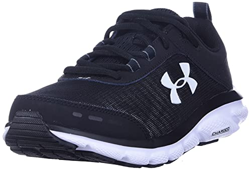 Under Armour mens Charged Assert 8 Running Shoe, Black/White, 12 US