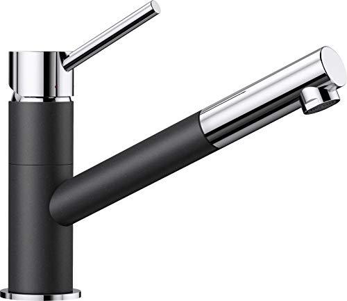 BLANCO KANO-S – Zweifarbiger Einhebelmischer für die Küche – mit ausziehbarem Auslauf – Chrom / Grau – 525038