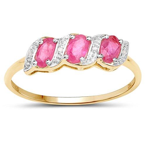 La Colección Diamante Rubi: 9ct Anillo Oro de la eternidad de rubíes y diamantes, Anillo de Compromiso Tamaño del anillo 20