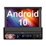 Vanku Android 10 Car Stereo Single Din with GPS, WiFi, Built-in DSP, Support Android Auto, Backup Camera, SWC, SD/USB, 7 Inch Flip Out Touchscreen