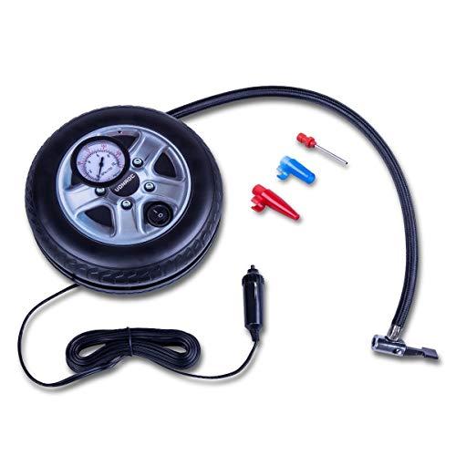 VONROC Compressore Portatile 12V con manometro. Max. Pressione di Esercizio: 10 Bar / 145 PSI. capacità 12L / min. Include 3 adattatori. per Moto, Bici, Auto, Palloni