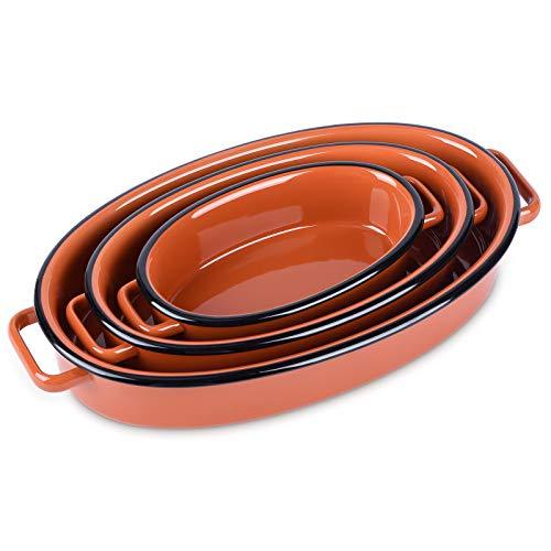 Au Gratin Pans Set, NEWANOVI Ceramic Baking Dish, Oval Baking Pans Lasagna Pans for Cooking, Kitchen, Cake Dinner, Banquet and Daily Use, 11 inch, 8.7 inch, 6.3inch, Orange Red