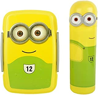 Perpetual Bliss Minions Lunch Box with Minions Shape Pencil Box with Stationary Kit,One Piece )(Random Color)