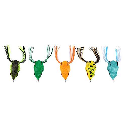 Topwater-visaas voor kikker, zacht vissen drijvend kikkeraas kunstmatige crankbaithaakjes voor bass Snakehead Dogfish muskus zoetwaterzout water (pak van 5)