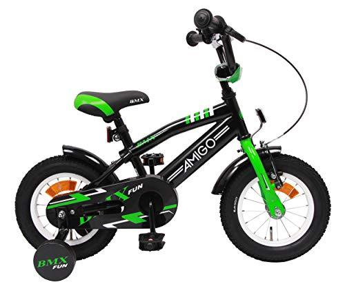Amigo BMX Fun - Kinderfahrrad für Jungen - 12 Zoll - mit Handbremse, Rücktritt, Lenkerpolster und Stützräder - ab 3-4 Jahre - Schwarz/Grün
