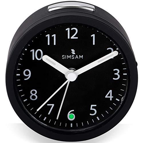Wecker Analog | Wecker ohne Ticken mit Licht | Tischuhr Analog | Klassischer Reisewecker mit Batterie, Sleepfunktion, Beleuchtung, ansteigendem Weckton | Modern Mini Alarm Clock