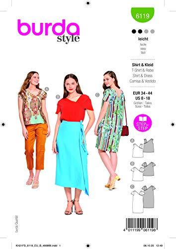 Burda 6119 Schnittmuster Shirt und Kleid (Damen, Gr. 34-44) Level 2 leicht