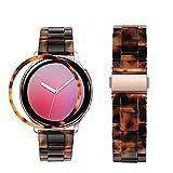 HeamptCorreaconBezelStylingparaSamsung Galaxy Watch Active 2(40mm),ResinaCorreaconBiselAnilloCubrirAnti-rasguñosProteccion(Carey)