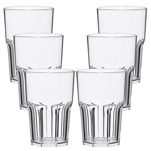 TUNDRA ICE INTERNATIONAL Set 6 Pezzi Bicchieri Cocktail in Policarbonato (Plastica Rigida) da 40 Cl, 100% Design Italiano, Tumbler Riutilizzabili e Lavabili in Lavastoviglie, Colore Trasparente Clear