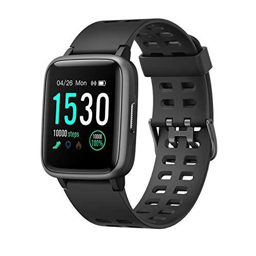 EFO SHM Smartwatch Fitness Tracker Armband Touchscreen Wasserdicht 5ATM Fitness Uhr Aktivitätstracker Sportuhr Pulsuhren Schrittzähler für Damen Herren iOS Android Handy, Schwarz